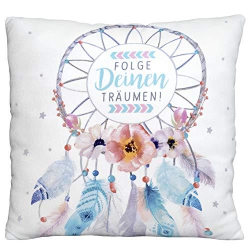 GRUSS & CO Die Geschenkewelt 45695 kleines Deko Traumfänger, Plüschkissen, Folge deinen Träumen, 25 cm x 25 cm Kissen, 100% Polyester, Pastell