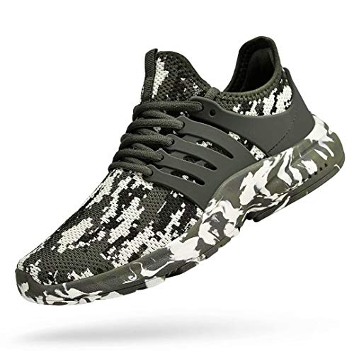 Troadlop Men's Running Shoes Non Slip Tennis Shoes Low Top Workout Shoes Lace up Fitness Slip On Athletic Walking Gym Sneakers Camouflage Green 9.5