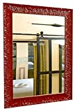 GaviaStore - Julie - Espejo de Pared Moderno en 12 tamaños y Colores - Grande Muebles hogar decoración Salon Modern Dormitorio baño Entrada (Rojo, 70x50 cm)