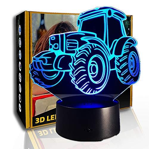 KangYD Lámpara de ilusión 3D Motor Tractor, luz nocturna LED, lámpara colorida, F - Base de audio Bluetooth (5 colores), Regalo para niños, Lámpara infantil