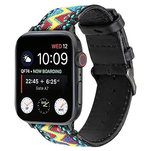 WAY-KE Banda De Reloj De Nylon Estilo Bohemio Compatible Apple Watch 38/40/42/44Mm Correa Repuesto para Reloj Inteligente Transpirable Correa De Reloj De Cuero para Iwatch Series 1 2 3 4 5,B,42MM