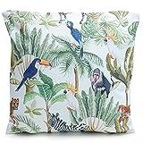 Outdoor Kissen Dschungel, Motiv: Palmen, Vögel, Tiere, grün 45 x 45 cm, Gartenkissen, Wasserabweisend