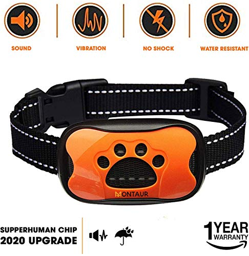 MONTAUR Dog Bark Collar - no Shock Vibration and Sound Humane Training Device for Small Medium Large Dogs - 7 Levels Sensitivity Adjustment - Best no Bark Control Collar