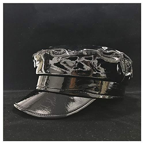 GHC Hüte & Mützen Unisex Echtes Leder Barett-Hut, Männer Frauen Flat Top Hut, im Freien Spielraum Lässige Hat Größe 56-58CM (Farbe : Schwarz, Größe : 56-58)