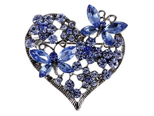ALILANG Damen Elegant Silber Strass Blau Liebes Herz Schmetterlings Valentinstag Geburtstag Brosche