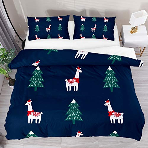 Christmas Tree with Alpaca 3 Piece Duvet Cover Set Twin XL Size 71'x87' Soft Quilt Cover Decorative Bedding Sets 1 Duvet Cover 2 Pillowcase Polyester Bedspread