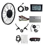 Kit de conversión de Bicicleta, Motor de Cubo sin Engranajes sin escobillas de Rueda Delantera de 48 V 1500 WQI con Pantalla S900, Kit de conversión de 26 Pulgadas