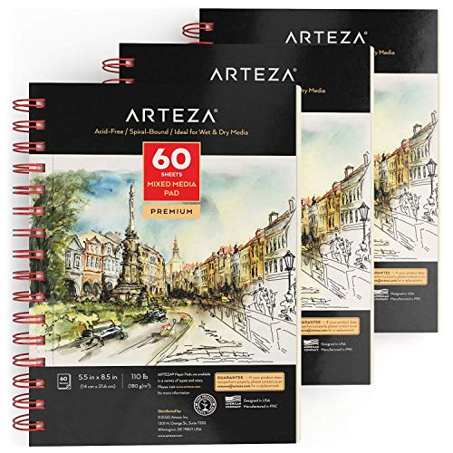 Arteza Zeichenblock Mixed Media Sketchbooks Spiralgebundener Skizzenblock mit 60 Blättern, Säurefreies Papier, 180gms -140 x 216mm, 3 Stück