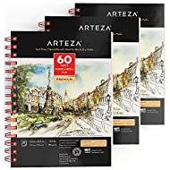"Arteza 5.5x8.5"" Mixed Media Sketch Book, 3 Pack, 120 Sheets (60 / Each), 110lb/180gsm, (Acid-Free, Micro-Perforated), Spiral-Bound Pad, Ideal for Wet and Dry Media, Sketching, Drawing, and Painting"