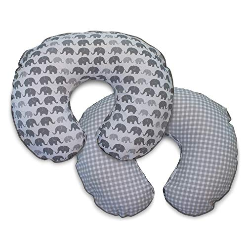 Boppy Premium Pillow Cover, Gray Elephants Plaid, Ultra-soft Microfiber Fabric...