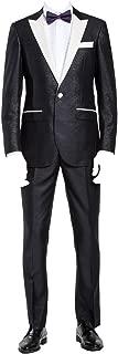 Mens 2 Piece 1 Button White Peak Lapel Slim Fit Party Tux Black