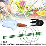 Jorzer 1 Set Plant Support Cage with Orchid Clips and Self Watering Spikes for Plant Flower Indoor Outdoor