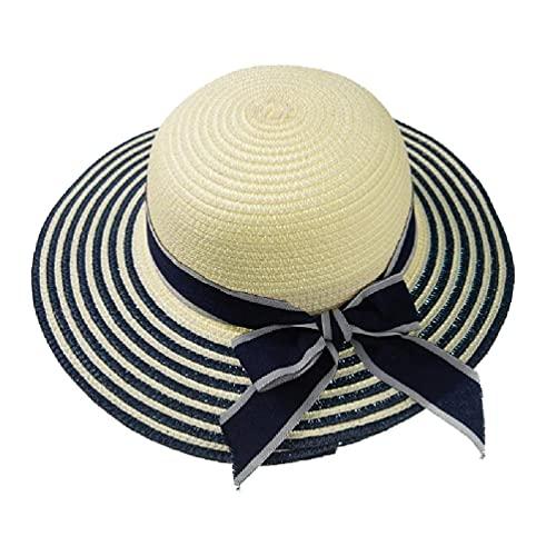 unknows Parent-Child Mother Daughter Summer Straw Sun Hat Wavy Wide Brim UV Protection Sweet Ribbon Bowknot Beach Panama Cap Womens Golf Visor Toddler Kids Summer