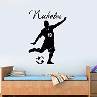WSNDGWS Cool Personalized Football Soccer Ball Name & Number Vinyl Wall Decal Poster Art Eco-Friendly Children Wall Sticker Room Decor Black 66 x 97cm