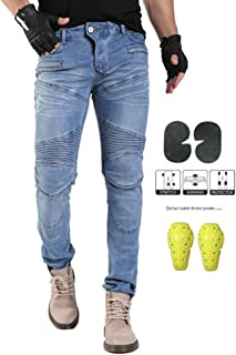 GELing Pantalon Moto Hombre Jeans Kevlar Aramid con Armadura