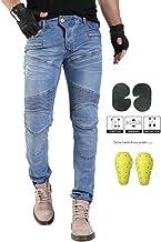 GELing Pantalon Moto Hombre Jeans Kevlar Aramid con Armadura ,Azul,M