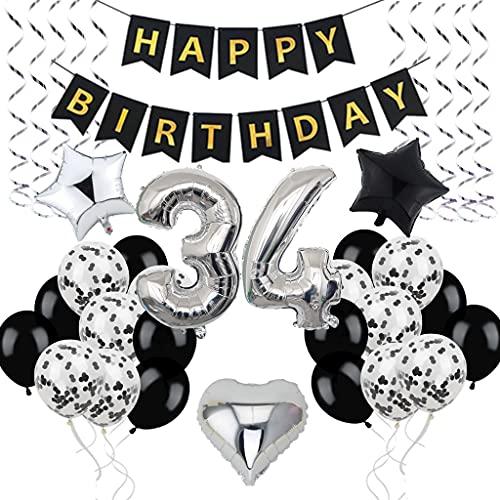 Décoration d'anniversaire 34 ans - Pour homme et femme - 34 ans - Décoration d'anniversaire - 34 ballons noirs et argentés - Décoration de fête d'anniversaire 34 ans