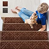 [Upgraded]Homluck Stair Treads Carpet Non Slip Indoor, Self-Adhesive Stair Runners for Wooden Steps, Stair Rugs for Dogs Elders and Kids, 15-Pack, 8' X 30', Brown