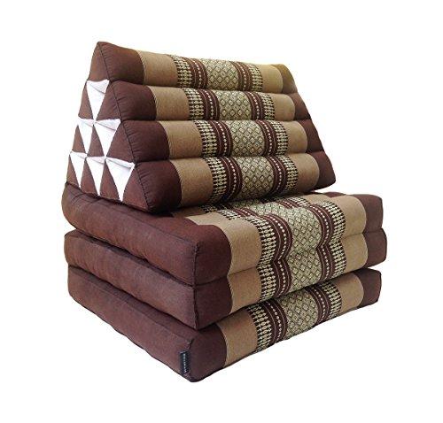 Collumino, materasso da meditazione tradizionale thailandese Kapok a 3 strati, con cuscino reclinabile triangolare in stile orientale, per yoga, massaggi o relax Marrone
