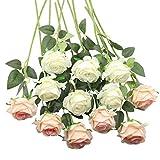 Decpro 12 Piezas de Rosas Artificiales, Flor de Seda de un Solo Tallo Largo de 19.7'' para Ramos de Novia, decoración de Hotel de Oficina, centros de Mesa, arreglos Florales (Blanco + Rosa Claro)