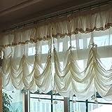 Tende a 1 pannello in tulle floreale per finestra, sfumature per tende con volant, elegant...