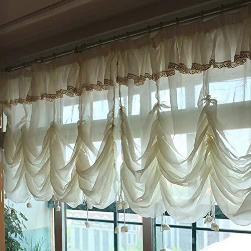WW&TT Elegantes Cortinas De Globo Sin Encaje,1 Panel Floral Tul Cortinas para Windows,Ajustable Corbata-hacia Arriba Cortina Romana,Volante Cortinas Beige 260x200cm(102x79inch)