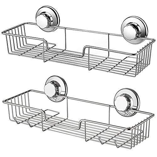 Keep Simple Estante de ducha con ventosa, de acero inoxidable, con ventosa, soporte para esponja para ducha, baño (2 juegos), color plateado