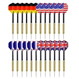 Ohuhu Tip Darts with National Flag Flights Stainless Steel Needle Tip...