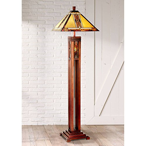 Mission Rustic Tiffany Style Tall Floor Lamp with Night Light Walnut Wood Column Square Geometric Stained Glass Shade Decor for Living Room Reading House Bedroom Home Office - Robert Louis Tiffany