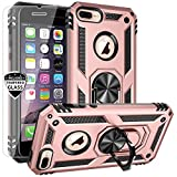 AUPAI for iPhone 8 Plus Case iPhone 7 Plus Case with Screen Protector Heavy Duty Rugged Cover with Magnetic Ring Kickstand for Car Mount Holder,Protective Phone Case for iPhone 7 Plus/8 Plus Rosegold