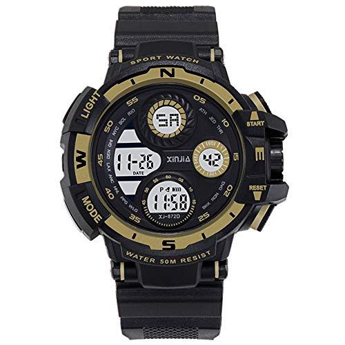 XIN Reloj del ejército Impermeable Multifuncional Luminoso Tendencia Reloj electrónico de los Hombres del Reloj de los Deportes de los Hombres (Oro Negro)