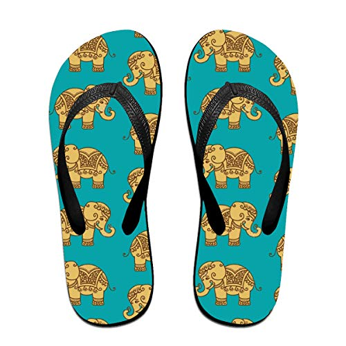 Iop 90p Pantofole Infradito con Motivo Elefante Indiano, PVC, Nero, Large