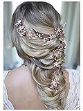 SWEETV Roségold Haarreife- Geflochtene Hochzeit Haarbänder Bohemian Bridal Haarschmuck - Kristall Hair Vine für Bräute Brautjungfern Extended length 28 1/2 inch