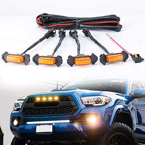 D-Lumina LED Grille Light Compatible with TOYOTA TACOMA TRD PRO 2016 2017 2018 Aftermarket, Raptor Style Amber Lights Kit w/Fuse Adapter and The Wiring Harness, 4-Pack