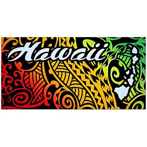하와이 부족 문신 디자인 무지개 비치 타월