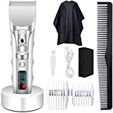 WANFEI Hair Clippers Electric Hair Trimmer Mens Hair Cutting Kit Cordless Clippers for Men Hair Cutting Grooming Kit Hair Clippers Set Rechargeable Electric Hair Clippers Kit with Sponge & Barber Cape