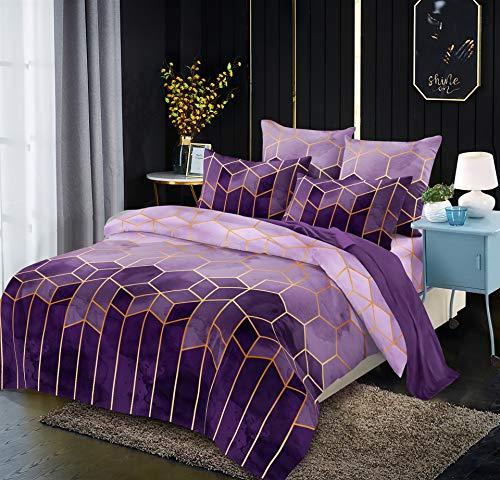 Luofanfei Microfaser Bettwäsche 200x220 Lila Violett Streifen Geometrisch Gestreifte Bettwaesche Doppelbett Set 3 Teilig 1 x Bettbezug 200 220 mit Reißverschluss 2 x Kissenbezüge 80x80