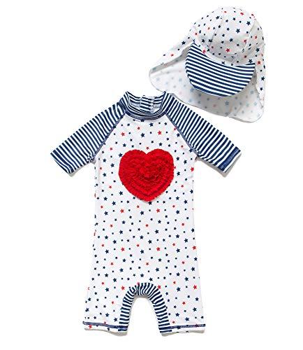 Baby Mädchen Ein stück Kurzärmel-Kleidung UV-Schutz 50+ Badeanzug MIT Einem Reißverschluss(Weiße-Liebe,6-9M)