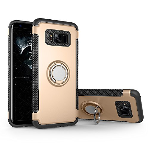 Shinyzone Coque Samsung Galaxy S8 Plus Porte-Anneau Béquille Fonction, [Fibre de Carbone Antidérapant] [Support de Voiture Magnétique] Double Couche TPU + PC Design-Or