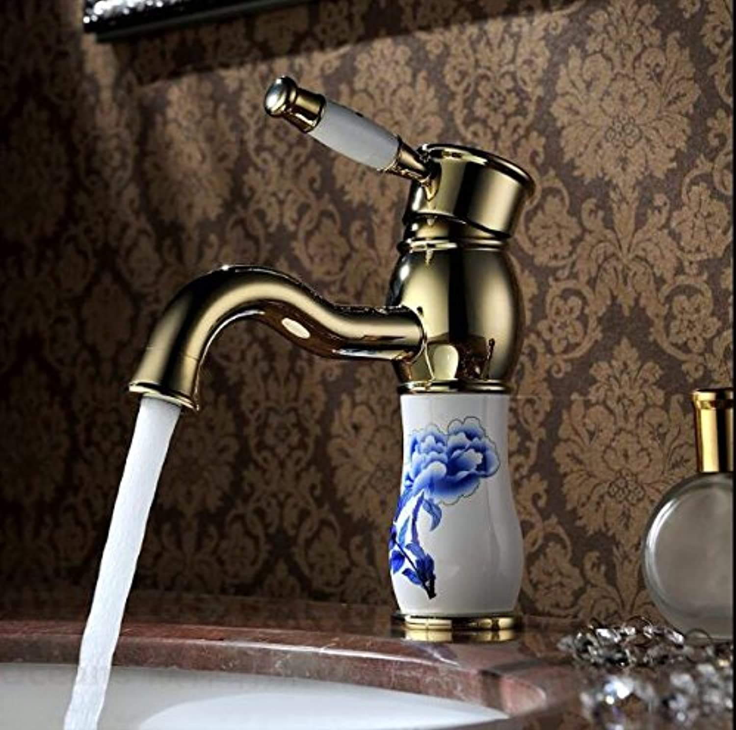 U-Enjoy Water Faucet gold Top Quality Brass & Jade Faucet Hot and Cold Mixer Luxury Bathroom Sink Faucet Mixer Tap (Free Shipping)