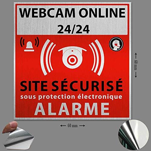 Bizz-Pop – Lote de 3 pegatinas de alarma para casa con vigilancia electrónica sobre vinilo blanco – Diámetro 60 mm