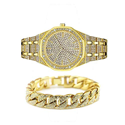 Jacklin-F Unisex Bling-ed Out Round Luxury Mens Watch Hip Hop Watch with Matching 7.87'/20cm Iced Out Cuban Bracelet-Silver Gold Available