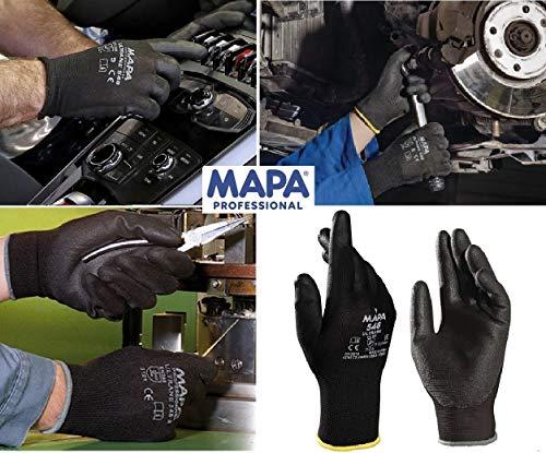 MAPA Professional Ultrane 548 – Dünne Polyurethan-Arbeitshandschuhe für mechanischen Schutz in der Automobil-, Elektronik, Kosmetik und Pharmaindustrie, schwarz, Größe 9 (1 Paar), Schutzhandschuhe