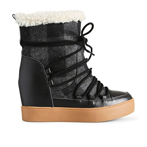 Shoe The Bear Damen Trish Check Wool Stiefeletten, Schwarz (Black 110), 39 EU