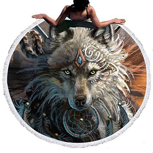 Sticker Superb 3D Estilo Lobo y Leon,Esterilla de Yoga o para Picnic,Toalla de Playa Microfibra Redonda,150 cm de Diámetro (Lobo Religioso, 150cm)
