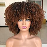 Afro Bomb Curly Wigs for Black Women Short Afro Kinky Curly Wig with Bangs 14inch Natural LookIng Ombre Brown Synthetic Heat Resistant Full Curly Wig