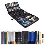 Z-NING 72PCS Set de lápices de Dibujo Bocetos Lápices de Colores Acuarela Metálico Aceitoso Kit Completo para Principiantes Suministros de Arte con Estuche de Lona, A
