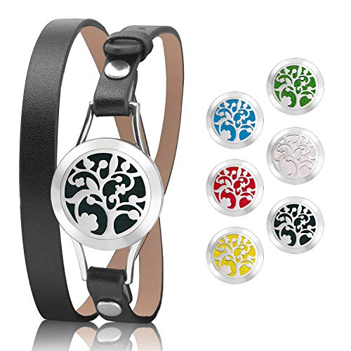 TeaMaX Essential Oil Diffuser Bracelet, Aromatherapy Locket stainless steel bracelet with 6 Color Refill Cotton Pads (Black)