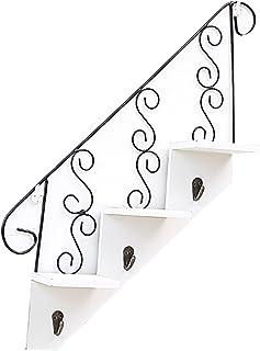 Escaleras de Madera de Arte en Forma de Estantes Gancho Percha de Pared Decorativa Estante de la Flor Sala de Estar Cocina de Almacenamiento Macetero