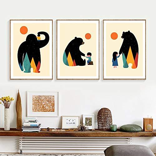 KWzEQ Cartel de la habitación de los niños Cartel de Oso de Color niño y niña decoración de la habitación Arte de la Pared Lienzo Imagen del Dormitorio,50X75cmx3,Pintura sin Marco
